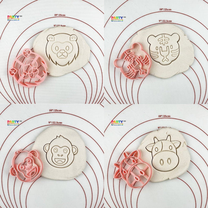Animal Theme Cookie Cutter | Wild One Theme Cookie Cutters | Tiger/Lion/Monkey/Cow Cutters Animal Play Doh Cutter | Animal Biscuits Cutters