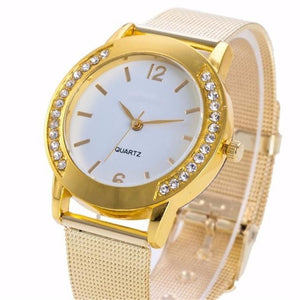 Doreen Box Quartz Wrist Watches Gold Color Mesh Dial Plate Rhinestone Trendy Simple Women Fashion Battery Included, 1 Piece