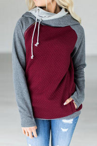 0162 maroon And Grey Pull Over With Hood