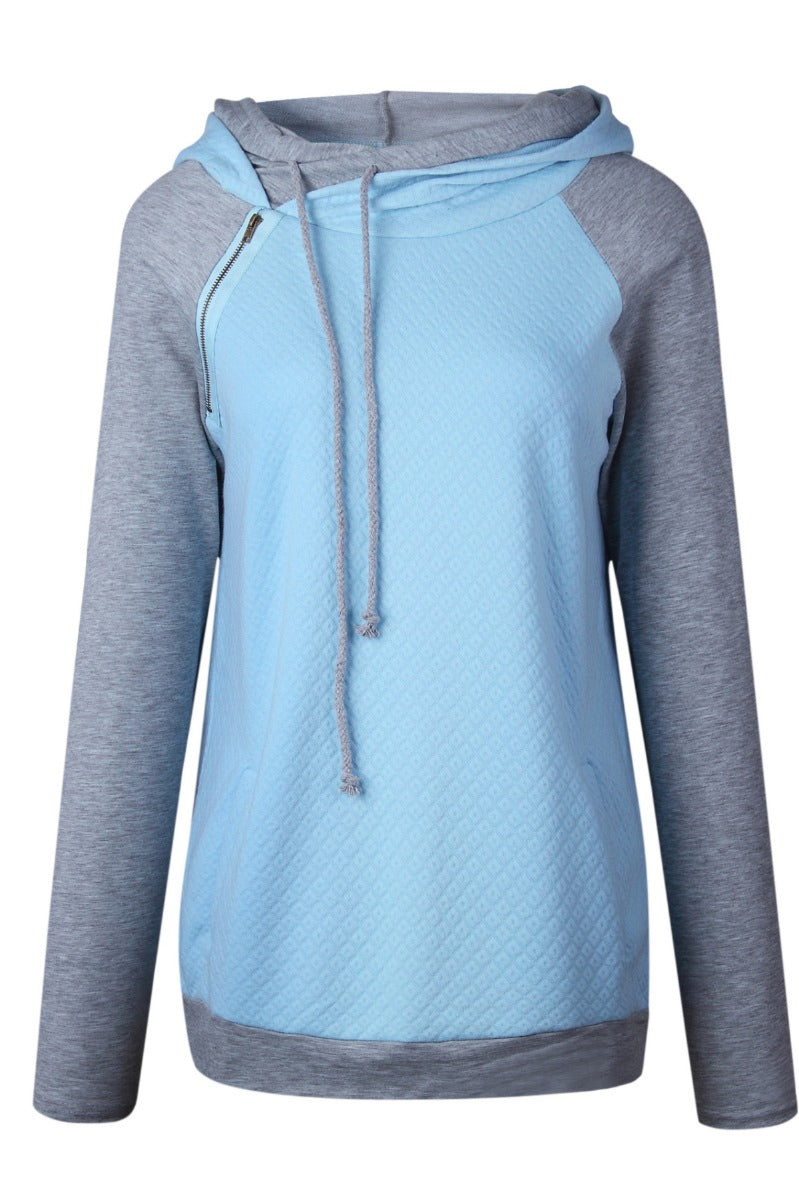 0167 Light Blue And Grey Pull over With Hood