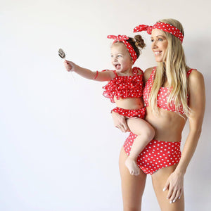 SW18 Red And White polkadot swim top (adult)