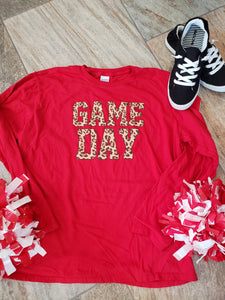 GD-0001 Cheetah game day red longsleeve
