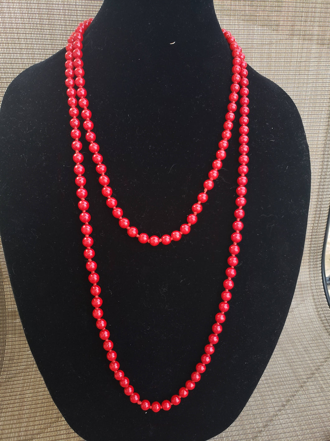 Red Coral Knotted Necklace-N8-60-0003
