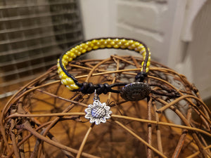 Yellow and Brown Leather Bracelet-BD-L-0003