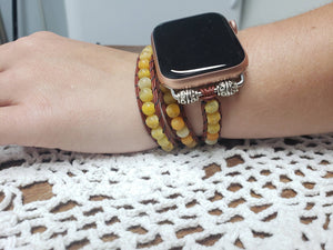 Yellow Agate Leather Apple Watch Band-WB-LB-0002