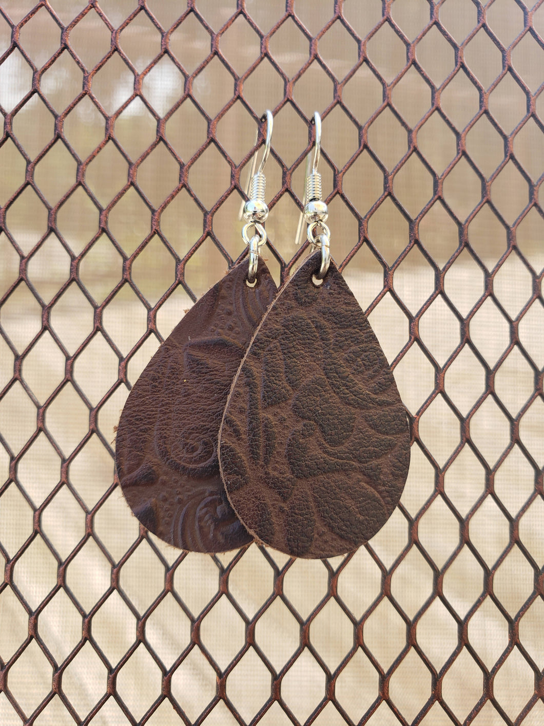 Tooled Leather Earrings-EL-36-0001