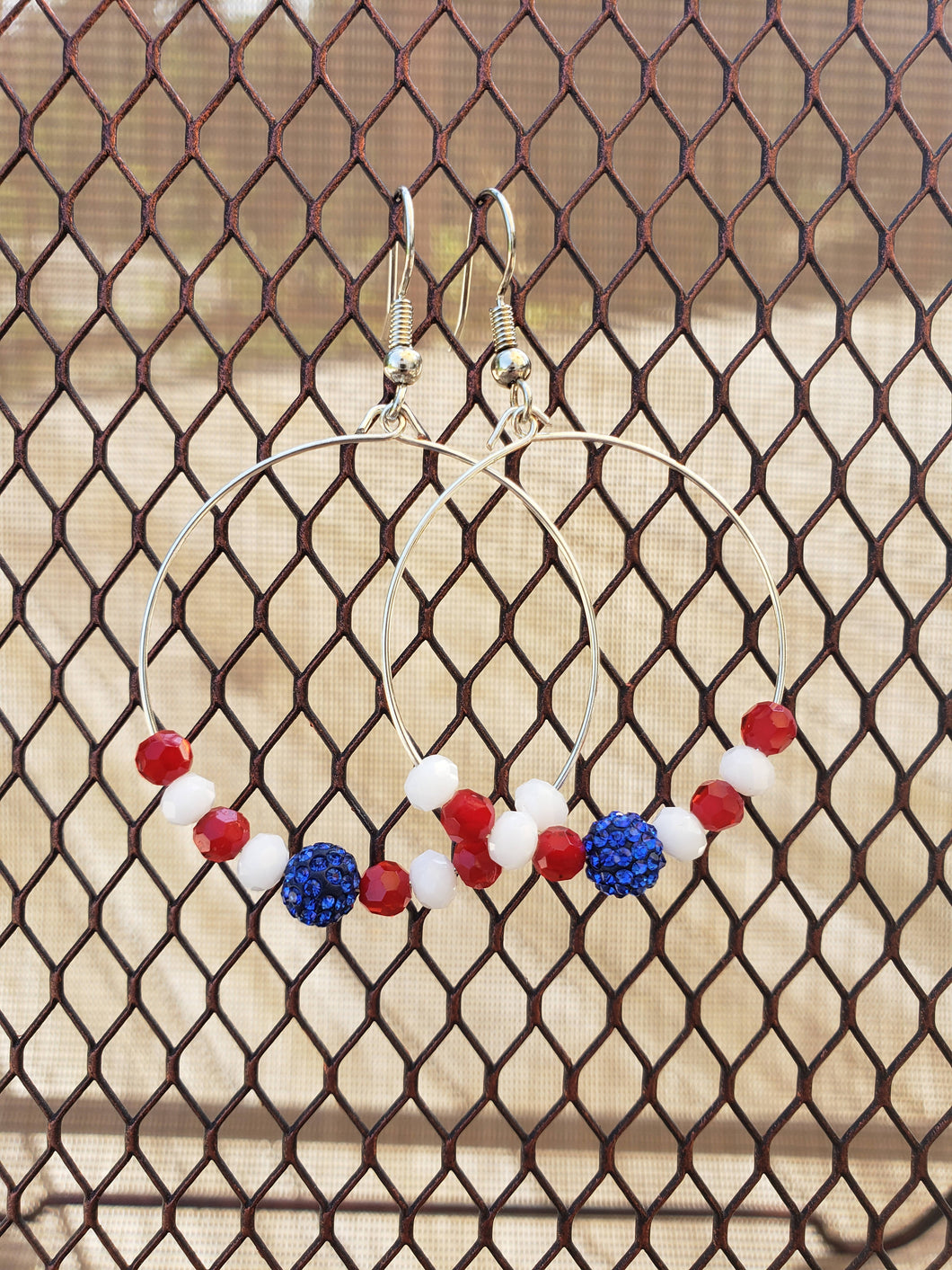 Red, White and Blue Hoop Earrings -EH-S-0001