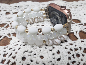 White Beaded Apple Watch Band-WB-EB-0002