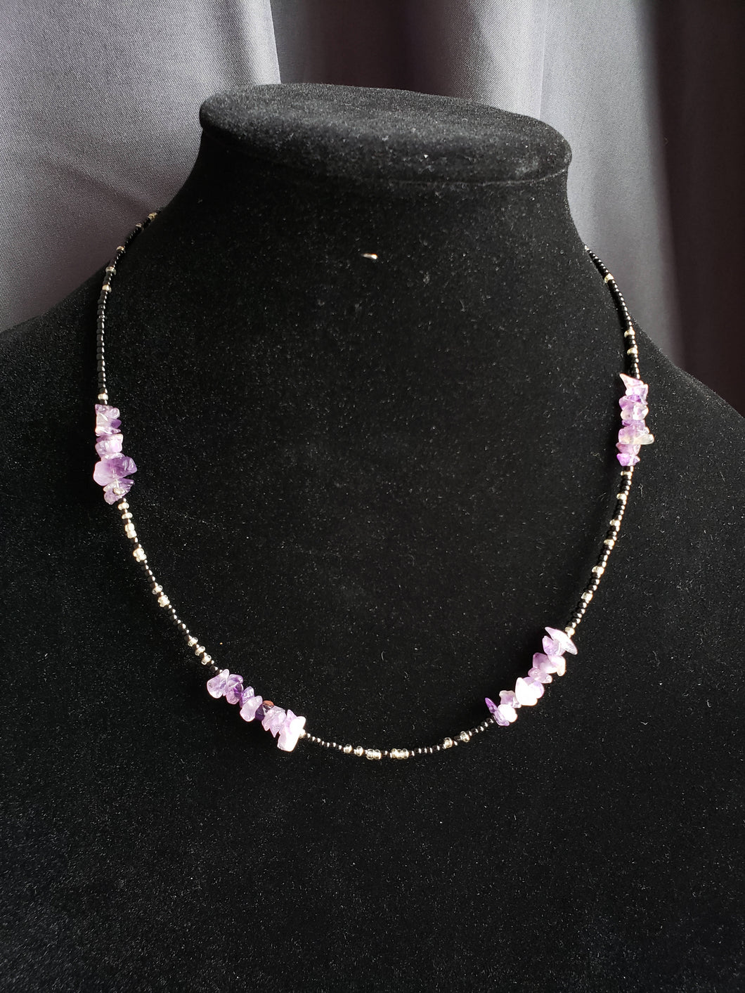 Seed Bead and Amythest Necklace-NS-20-0001