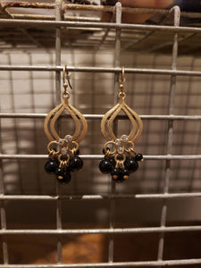 Black Cluster Earrings-E-0014