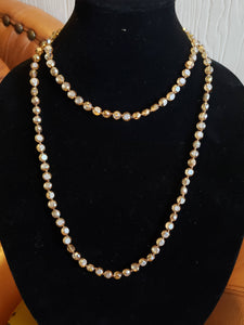Flat Frosted Crystal Knotted Necklace-N8-48-0001