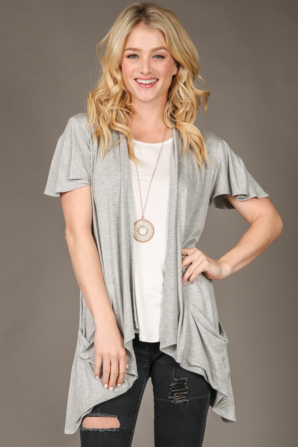 0115 heather grey cardigan