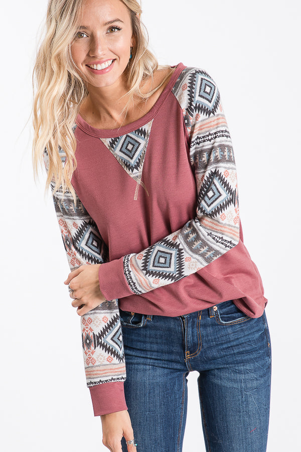 0154 Rose and Aztec Sleeve