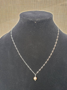 Silver Chain with Rose Gold Pearl-NC-18-0002