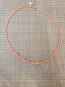 Pearly Orange Choker with Koi FIsh Charm-NS-17-0001