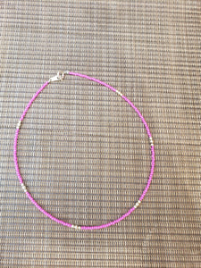 Bright Pink with Sterling Silver Choker-NS-14-0002