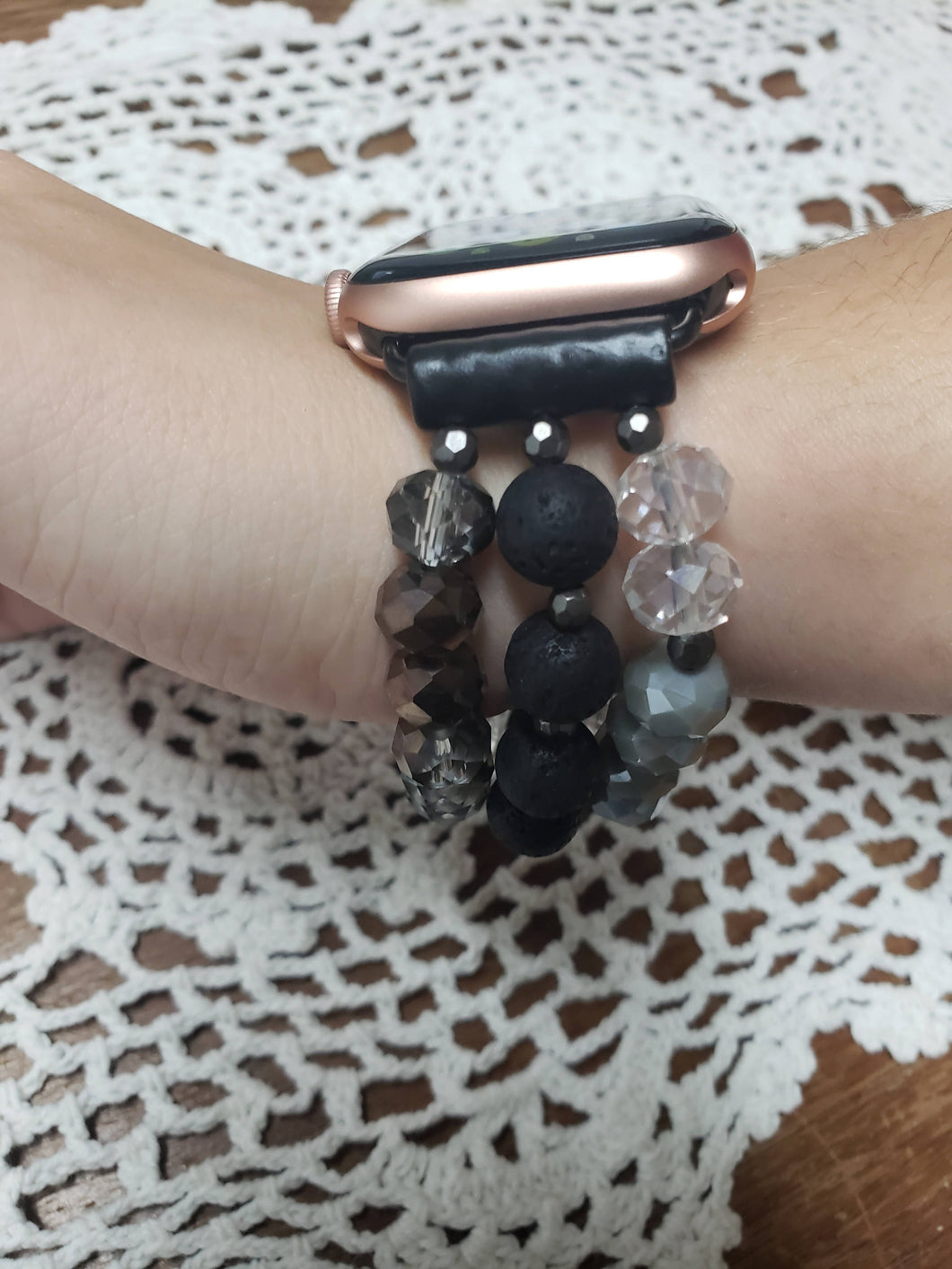 Black Beaded Apple Watch Bracelet-WB-EB-0003
