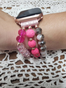 Pink Beaded Apple Watch Band-WB-EB-0005