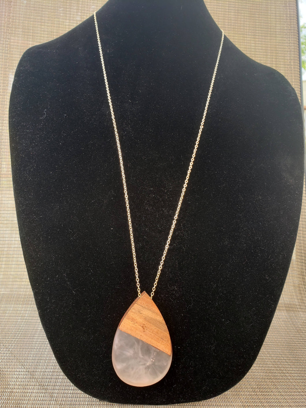 Wood Pendant Necklace-NC-325-0001