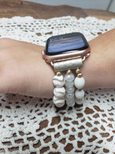 Load image into Gallery viewer, White Beaded Apple Watch Band-WB-EB-0002