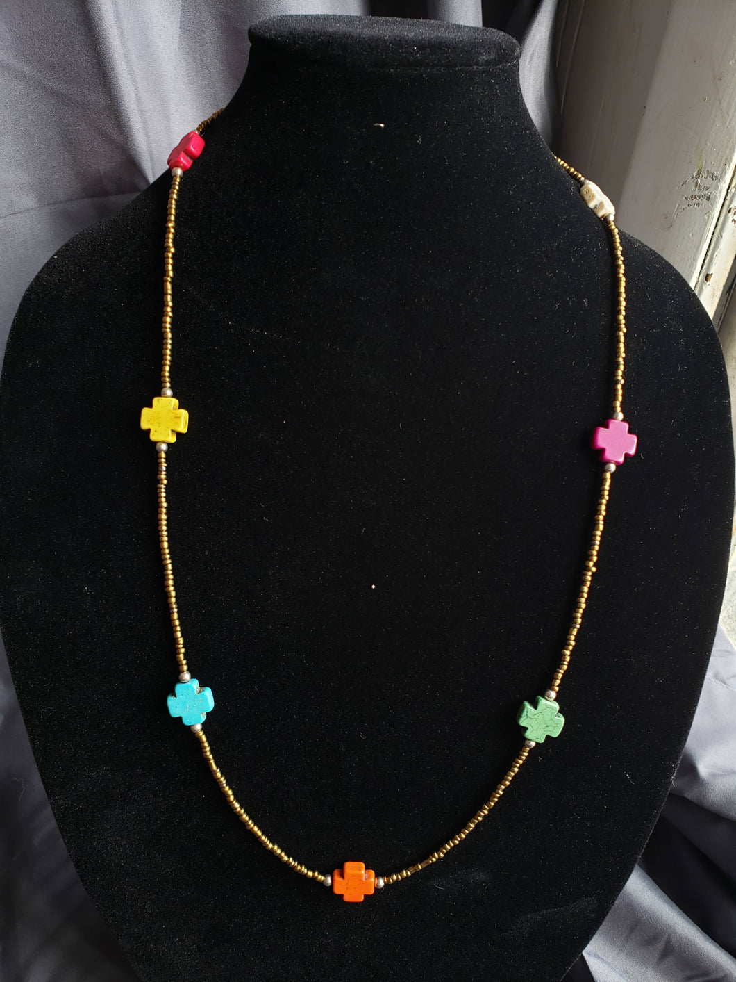Bronze and Multi-Colored Cross Necklace-NS-31-0001