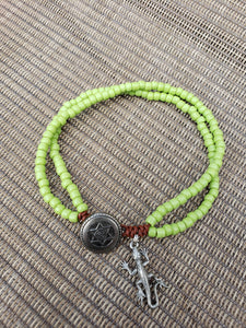 Sour Apple Beaded leather Anklet-A6S-8-0001