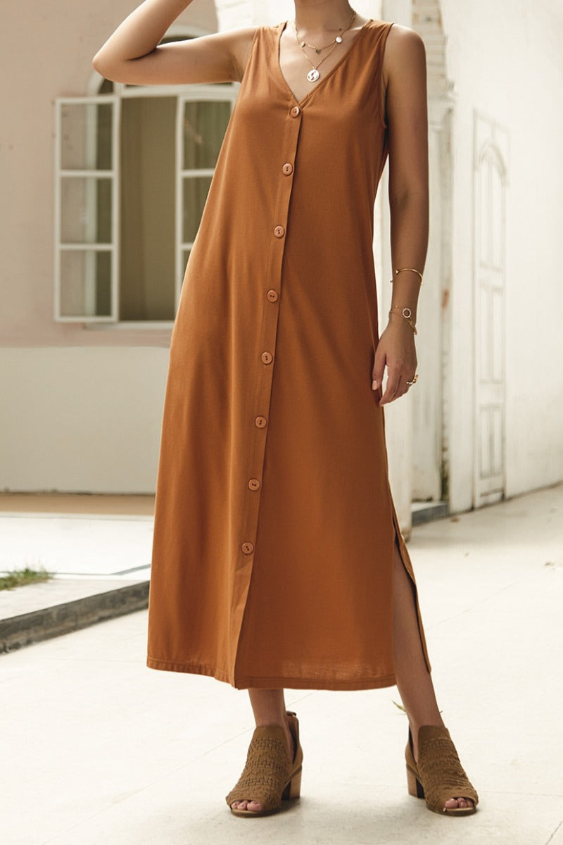 0142 burnt orange long button up dress