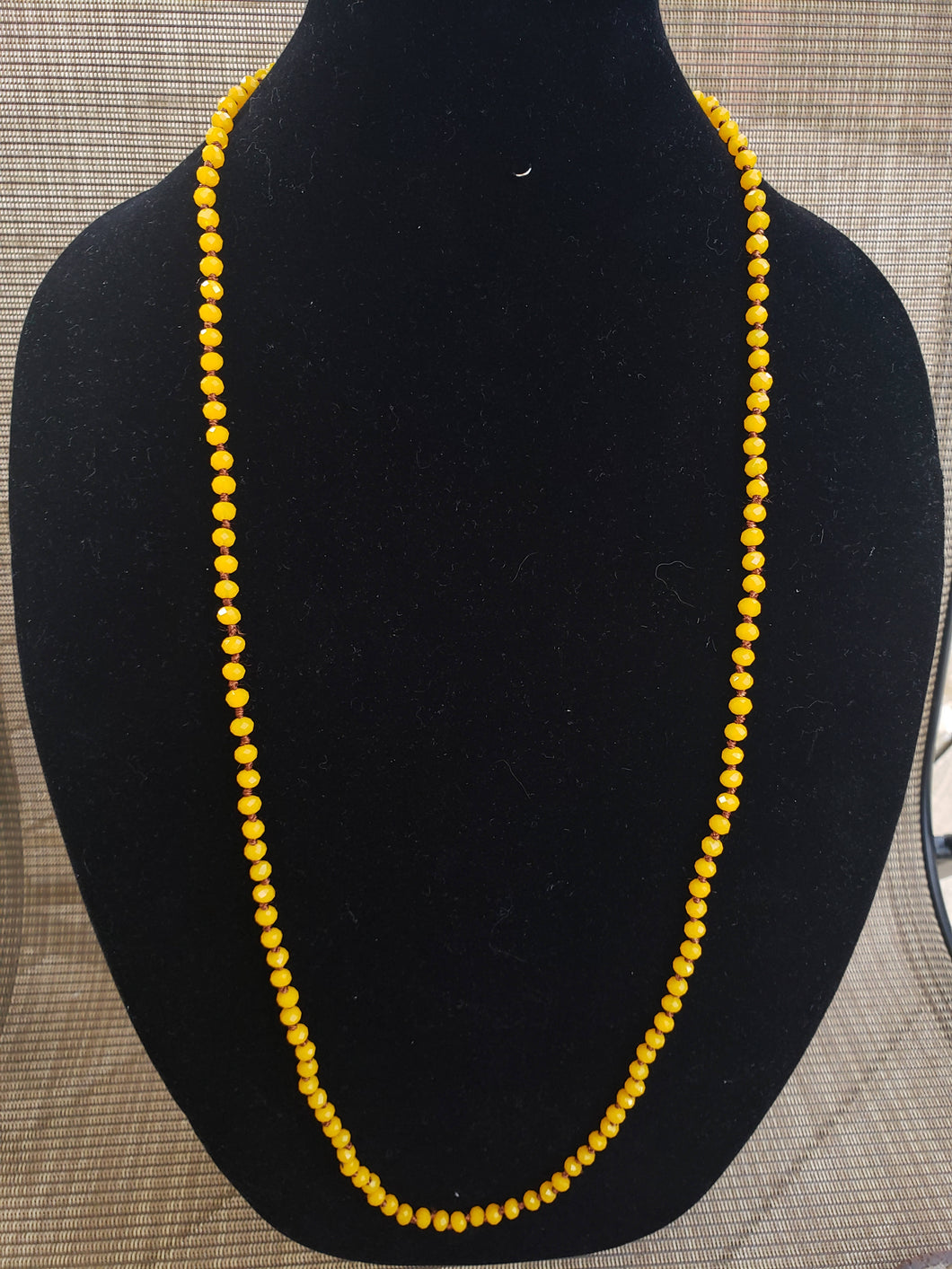 Yellow Knotted Necklace-N6-36-0002