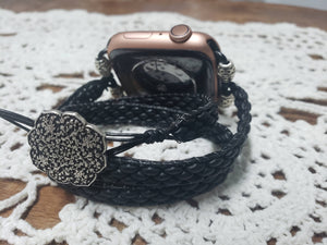 Matte Jet Leather Apple Watch Band-WB-LB-0001