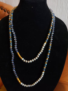 Montana Blue and Gray Double Knotted Necklace-N8-60-0001