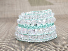 Load image into Gallery viewer, Clear Faceted Leather Bracelet-B8-725-0001