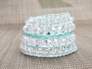 Clear Faceted Leather Bracelet-B8-725-0001