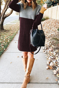 2018 Maroon and grey sweater dress