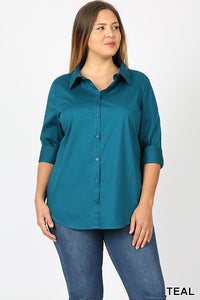 0819 Teal Half Sleeve Button Up (Plus)