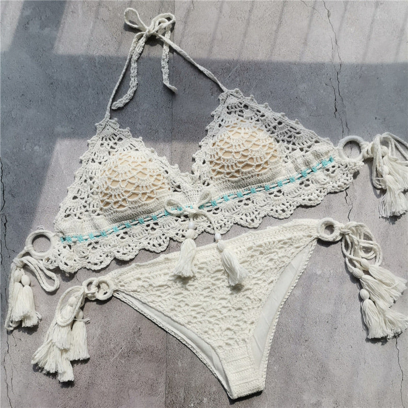 Sw26 White Hand Knitted Lace Two Piece