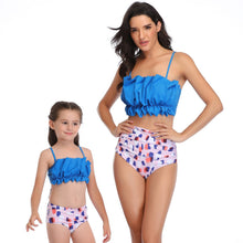 Load image into Gallery viewer, Ksw12 Blue Ruffle Top With colorful Bottom (KIDS)