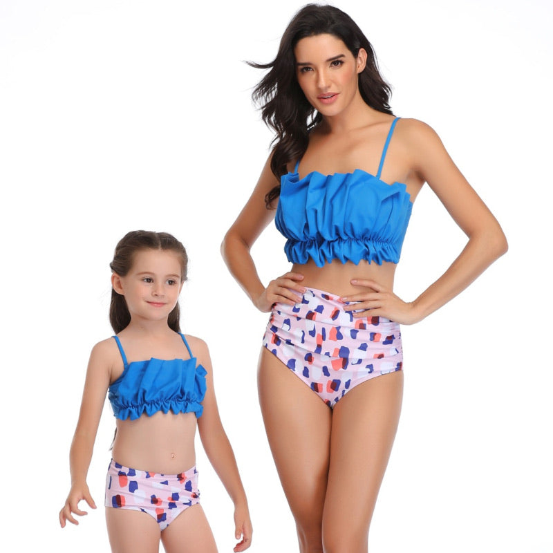 Ksw12 Blue Ruffle Top With colorful Bottom (KIDS)