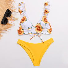 Load image into Gallery viewer, Sw24 Sunflower Ruffle Top Yellow Bottoms