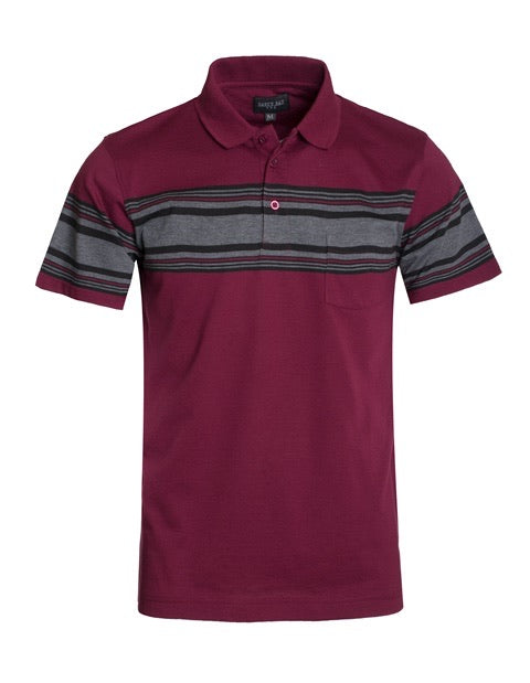 0137 maroon shirt with black and dark gray stripes