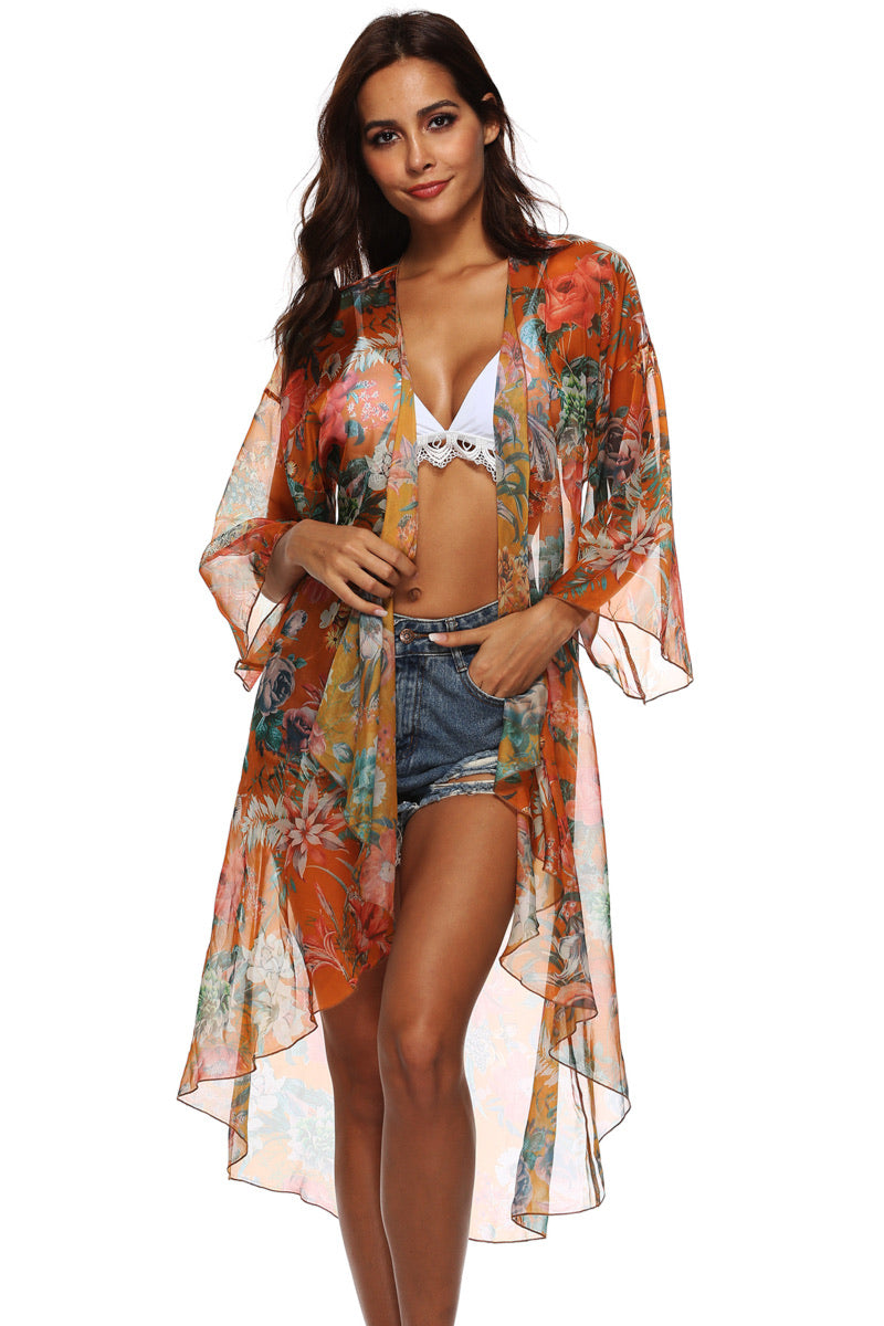 0000 Floral Three- Quarter Sleeve Cover Up