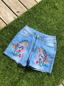 0064 Floral Jean Shorts