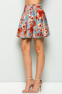 0176 blue and red floral skirt