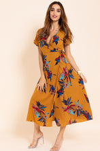 Load image into Gallery viewer, 2032 short sleeve V-neck burnt yellow long dress
