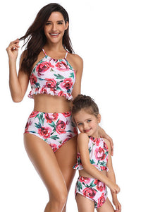 Sw54 High waisted pink floral bottoms (adult)