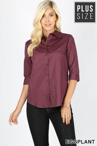 0821 Eggplant Purple Half Sleeve Button Up (plus)
