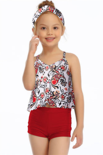 Ksw01 Floral Tankini With Red Swim Shorts (KIDS)