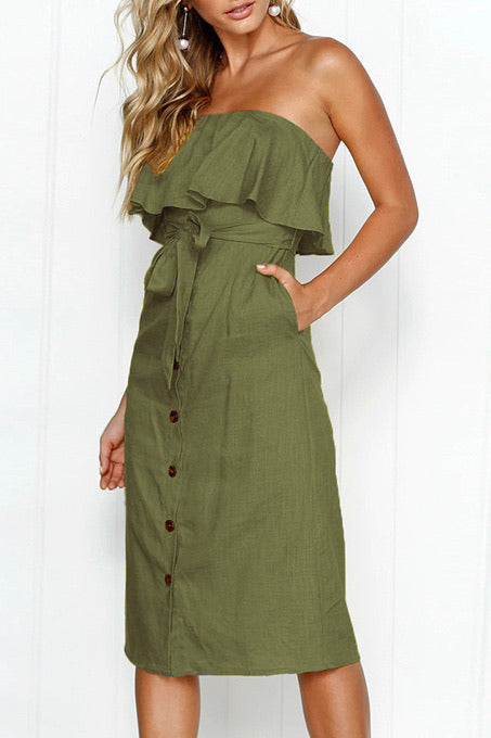 2010 Olive green Button Up Dress