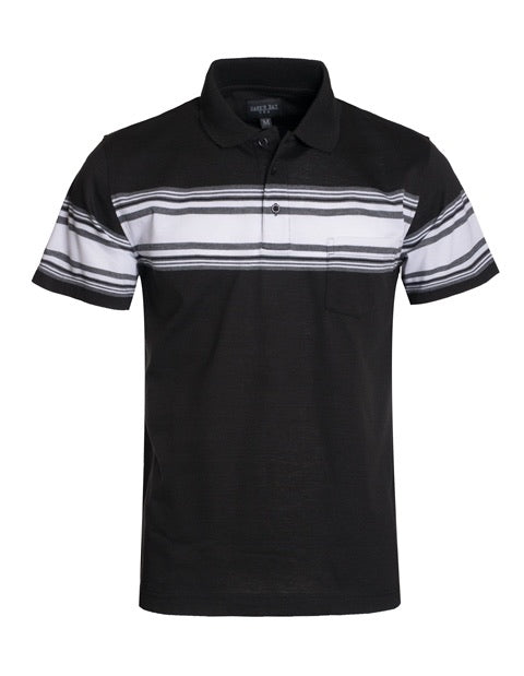 0135 Black short sleeve with gray and white stripes