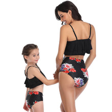 Load image into Gallery viewer, Ksw08 Black Ruffle Top With Floral Bottoms (KIDS)