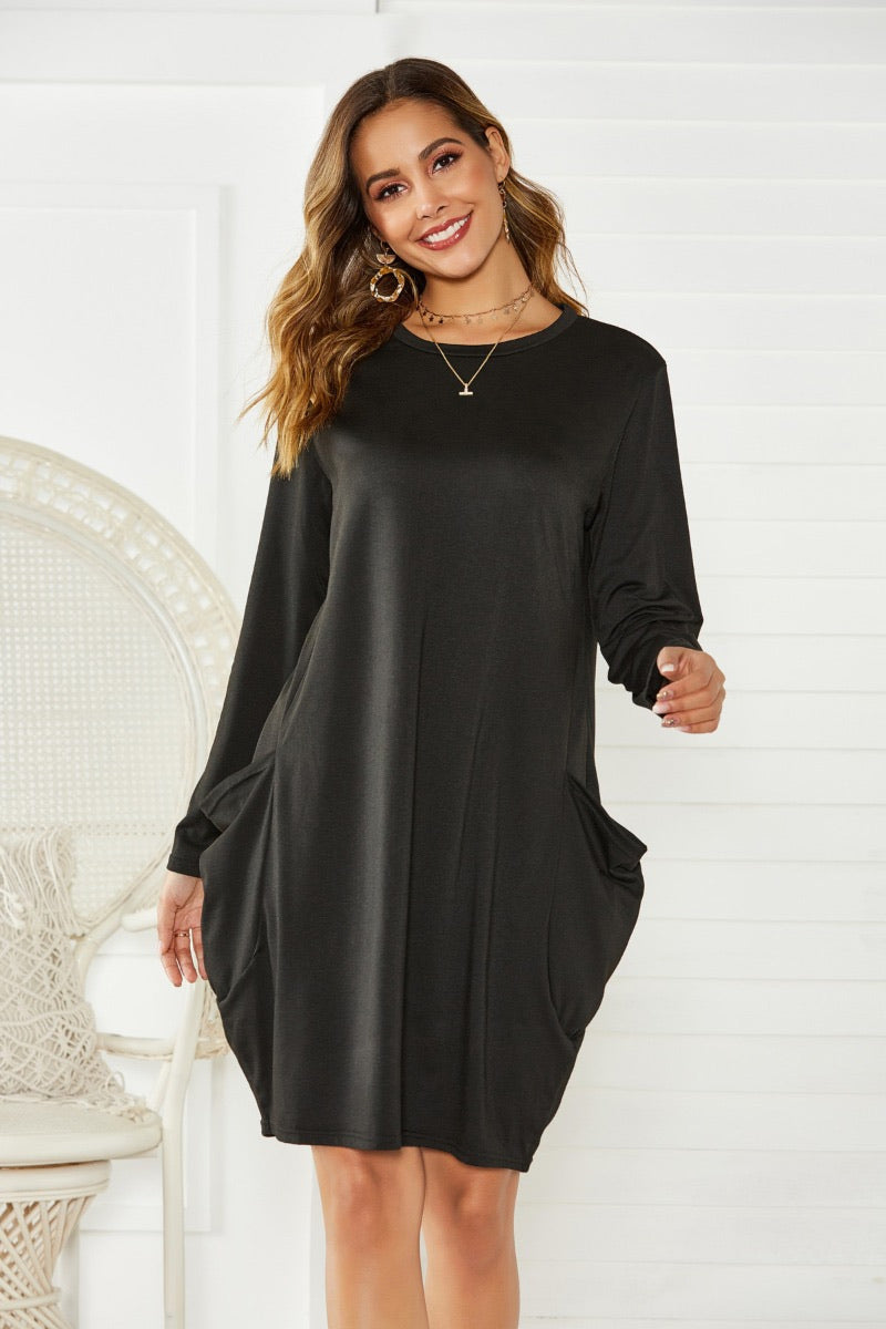 2037 Black Long Sleeve Dress With Pockets
